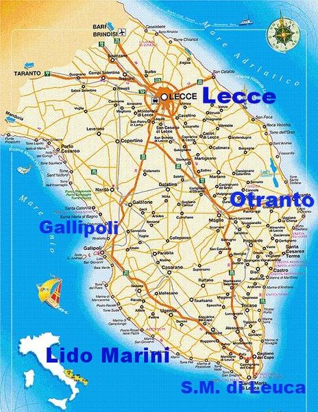 Cartina Puglia Lido Marini.Salento Case Vacanza Lido Marini